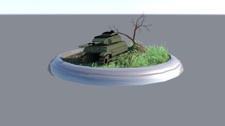 Tank and display 3D model I cinstructed and textured. I also used raytracing and mental ray lighting in Maya to make a more natural colored lighting and shadows.