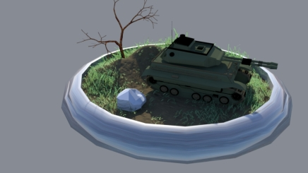 Tank 3D model: I painted the ground texture and to give it a more dynamic look and made the surface paintable in order to make the grass and tree in the scene.
